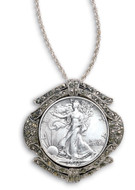 Collector's Silver Walking Liberty Half Dollar Marcasite Coin Pin/Pendant Coin Jewelry - Actual Authentic Collectable -