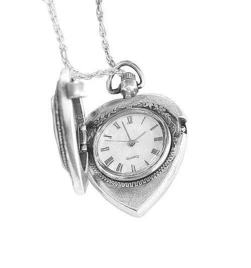 Collector's Silver Mercury Dime Heart Pendant & Watch - Actual Authentic Collectable - Photo Museum Store Company