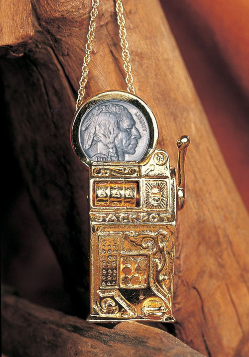 Collector's Slot Machine Pin/Pendant with Buffalo Nickel - Actual Authentic Collectable - Photo Museum Store Company