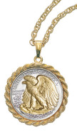 Collector's Selectively Gold-Layered Silver Walking Liberty Half Dollar Rope Coin Pendant Coin Jewelry - Actual Authenti