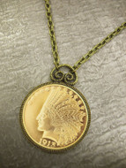 Collector's $10 Indian Head Eagle Gold Piece Replica Coin in Antique Goldtone Pendant Coin Jewelry - Coin Replica - Phot