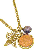 Collector's Goldtone Butterfly Coin and Charm Pendant  - Actual Authentic Collectable - Photo Museum Store Company