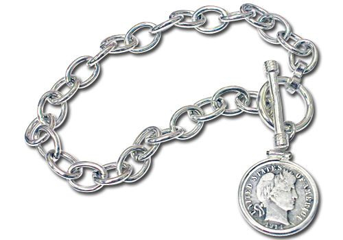 Collector's Sterling Silver Toggle Bracelet with Silver Barber Dime - Actual Authentic Collectable - Photo Museum Store