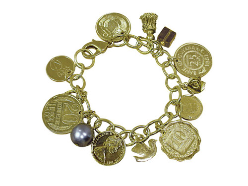 Collector's Gold-Layered Foreign Coins Charm Bracelet Coin Jewelry - Actual Authentic Collectable - Photo Museum Store C