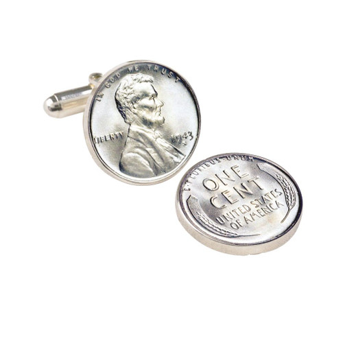 Collector's 1943 Lincoln Steel Penny Cuff Links - Actual Authentic Collectable - Photo Museum Store Company