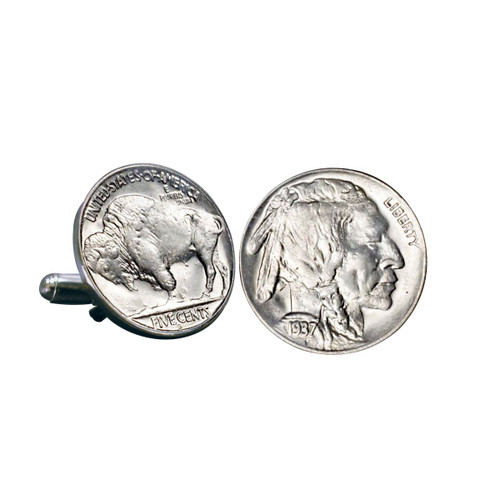 Collector's Buffalo Nickel Cuff Links - Actual Authentic Collectable - Photo Museum Store Company