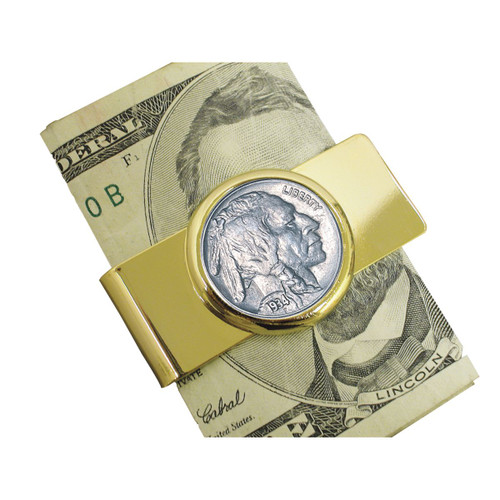 Collector's Buffalo Nickel Goldtone Moneyclip - Actual Authentic Collectable - Photo Museum Store Company