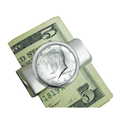 Collector's Silvertone JFK Half Dollar Money Clip - Actual Authentic Collectable - Photo Museum Store Company