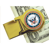 Collector's Goldtone Moneyclip with Colorized Navy Washington Quarter - Actual Authentic Collectable - Photo Museum Stor