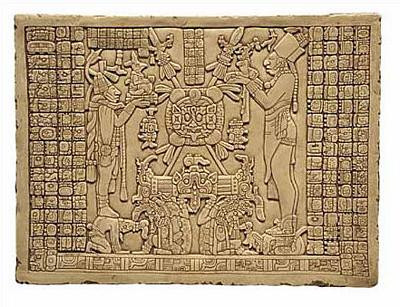 Maya Tablet of the Sun - Temple of the Sun, Palenque, Mexico. 692 A.D. - Photo Museum Store Company