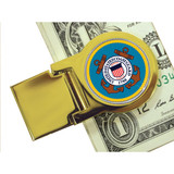 Collector's Goldtone Moneyclip with Colorized Coast Guard Washington Quarter - Actual Authentic Collectable - Photo Muse