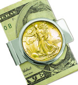 Collector's Silvertone Moneyclip with Silver Walking Liberty Half Dollar Layered in Pure Gold - Actual Authentic Collect