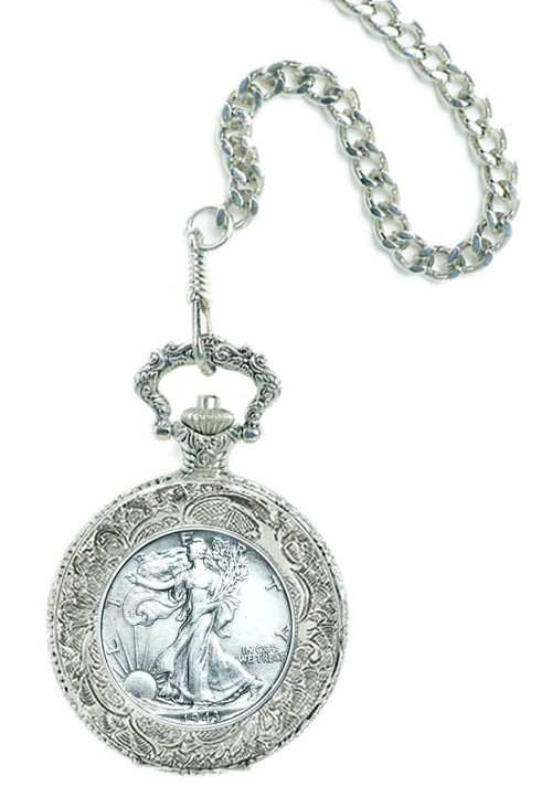 Collector's Silver Walking Liberty Half Dollar Pocket Watch - Actual Authentic Collectable - Photo Museum Store Company