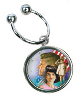 Collector's Colorized JFK Family Half Dollar Keychain - Actual Authentic Collectable - Photo Museum Store Company