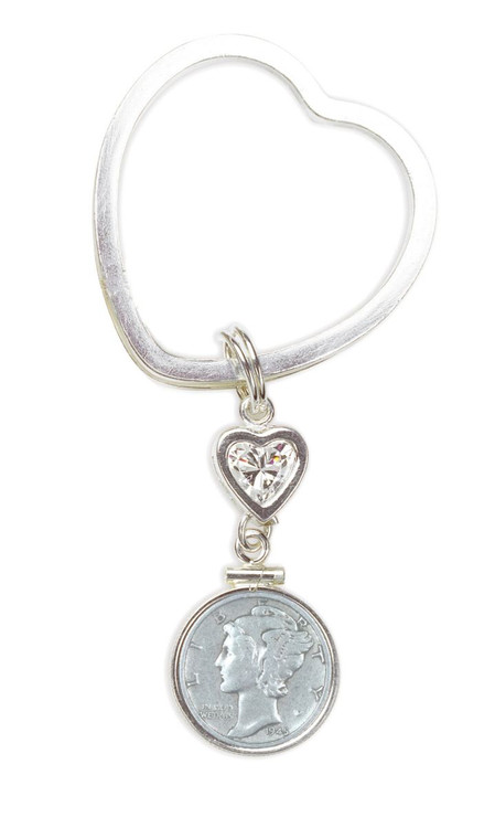 Collector's Sterling Silver Mercury Dime Coin Heart Keychain Coin Jewelry - Actual Authentic Collectable - Photo Museum