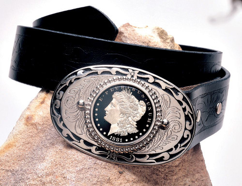 Collector's Black Enamel Morgan Silver Dollar Belt Buckle - Actual Authentic Collectable - Photo Museum Store Company