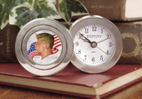 Collector's Colorized JFK Half Dollar Coin Travel Clock - Actual Authentic Collectable - Photo Museum Store Company