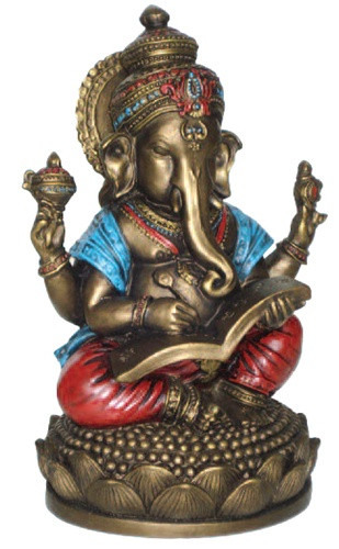 Ganesh writing the Mahabharata, Sculpture, Bronze Finish   - Photo Museum Store Company