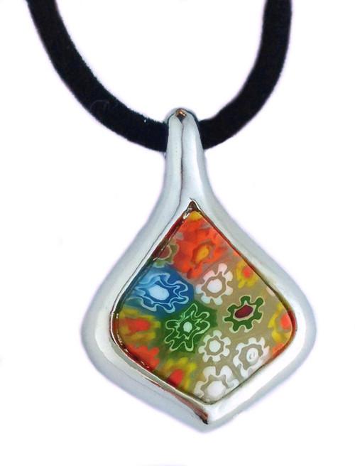 "Medieval Venetian Drop Necklace - Murano Glass Pend W/Silk Cord 18"" - Photo Museum Store Company"