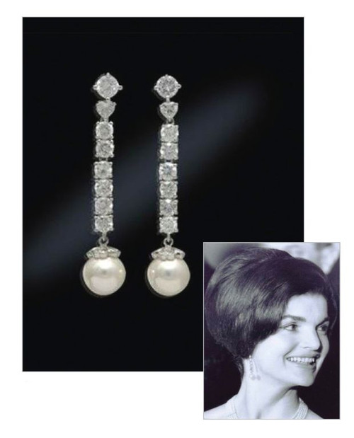 Jacqueline Jackie Kennedy Collection - Pearl Drop Earrings - Photo Museum Store Company