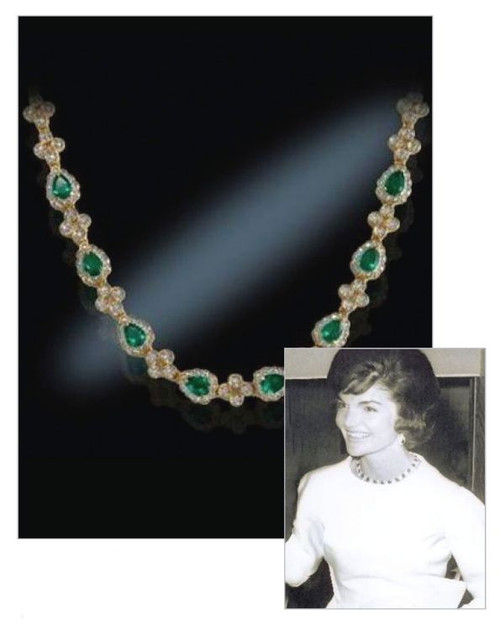 Jacqueline Jackie Kennedy Collection - Emerald Drop Necklace - Photo Museum Store Company