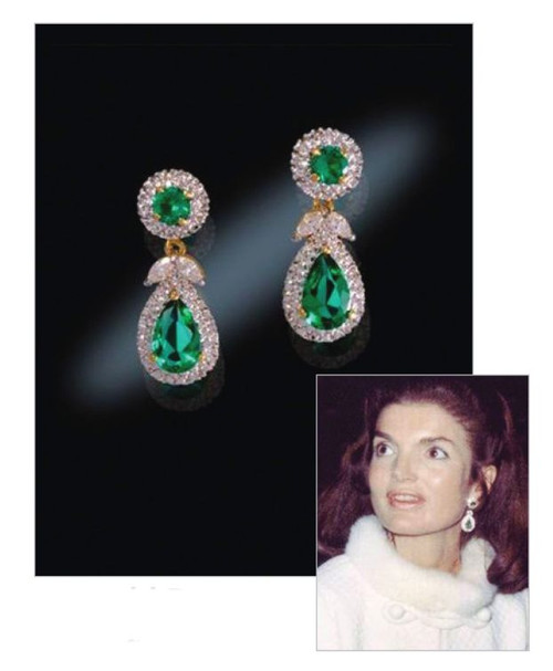Jacqueline Jackie Kennedy Collection - Emerald Drop Earrings - Photo Museum Store Company