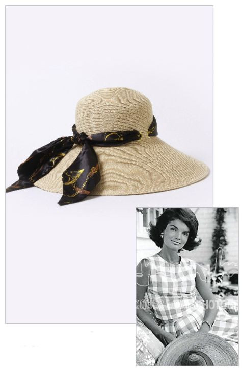 Jacqueline Jackie Kennedy Collection - Straw Sunhat with Interchangable Equistrian and Leopard Scarves - Photo Museum St