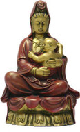 Small Kuan-Yin with Baby Statue, Gold and Red Hand Painted - Photo Museum Store Company