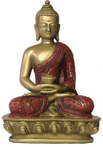 Nepali Buddha in Meditation Pose Statue, Gold and Red - Photo Museum Store Company