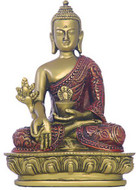 Nepali Medicine Buddha Statue, Gold and Red - Photo Museum Store Company
