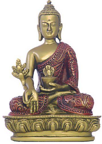 Nepali Medicine Buddha Statue, Gold and Red - Photo Museum Store Company