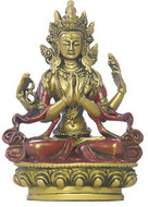 Chenrezi Bodhisattva Statue, Gold and Red - Photo Museum Store Company