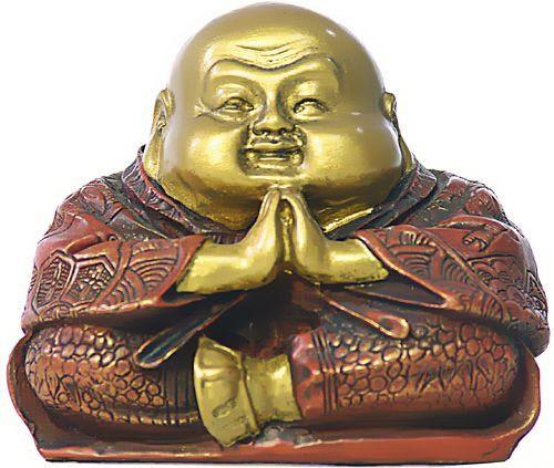 Praying Happy Buddha Hotai Small Statue - Photo Museum Store Company