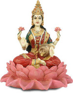 Lakshmi on Lotus Goddess of Wealth Statue, Hand Colored Details - Photo Museum Store Company