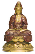 Kuan-Yin in Meditation Statue, Gold and Red Hand Detailed - Photo Museum Store Company