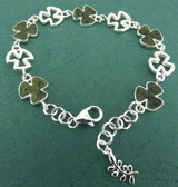 Connemara Marble Silver Shamrock Link Bracelet - Photo Museum Store Company