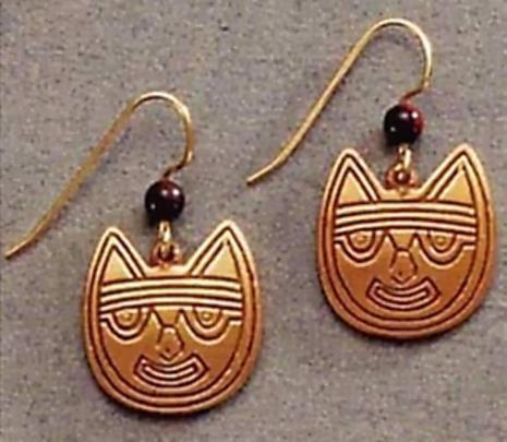 Pre-Columbian Cat Earrings - Peru, Paracas Culture 250 B.C to 125A.D. The Lowe Art Museum - Photo Museum Store Company