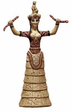 Minoan Snake Goddess - Herakleion Museum, Crete,   1600BC - Photo Museum Store Company