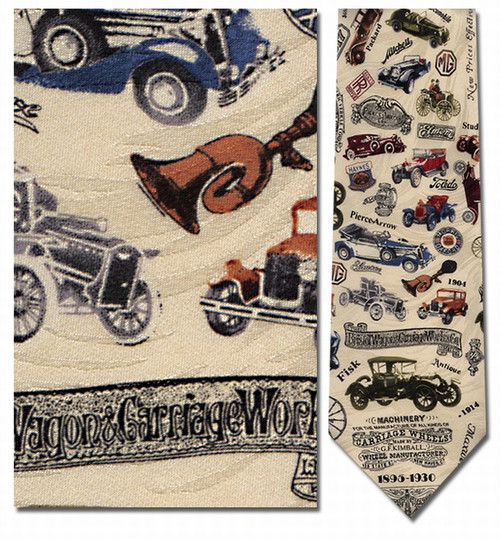 Antique Cars In Color Necktie - Museum Store Company Photo