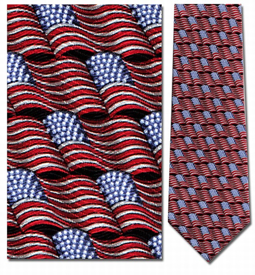 Small Waving American Flag Repeat Necktie - Museum Store Company Photo