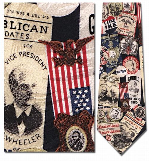 Republican Memorabilia, Campaign Buttons Necktie - Museum Store Company Photo