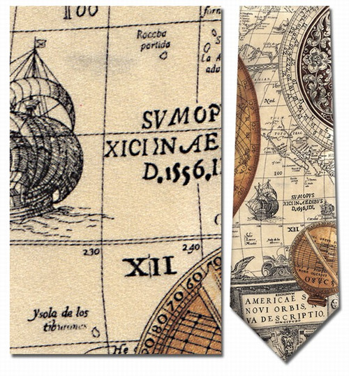 Antique Sun Dials Map Necktie - Museum Store Company Photo