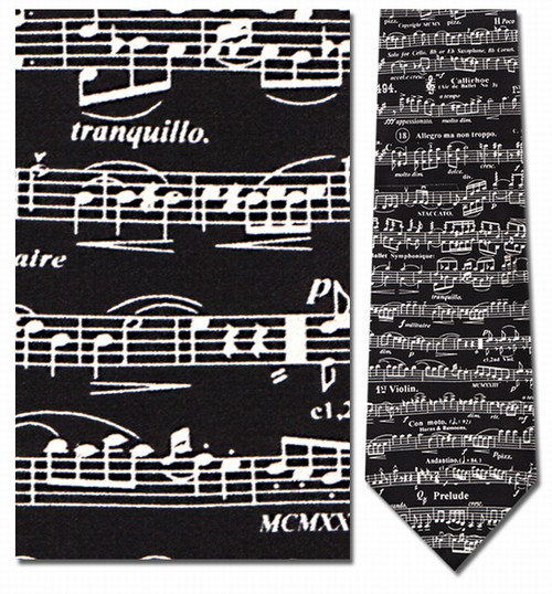 Classic Sheet Music- Violin Necktie - Museum Store Company Photo