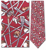 Criss Cross Golf Clubs & Balls Necktie - Museum Store Company Photo