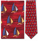 Sailboats & Waves Necktie - Museum Store Company Photo