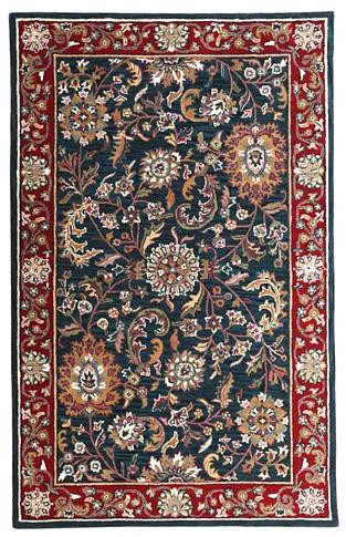 Kashan - Navy / Red Rug : Persian Tufted Collection - Photo Museum Store Company