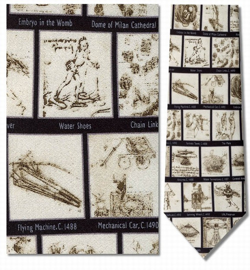 Leonardo da Vinci-Lifetime of Sketches Necktie - Museum Store Company Photo