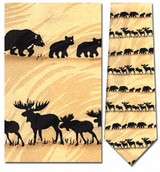 Bear & Moose Silhouette Horizontal Necktie - Museum Store Company Photo