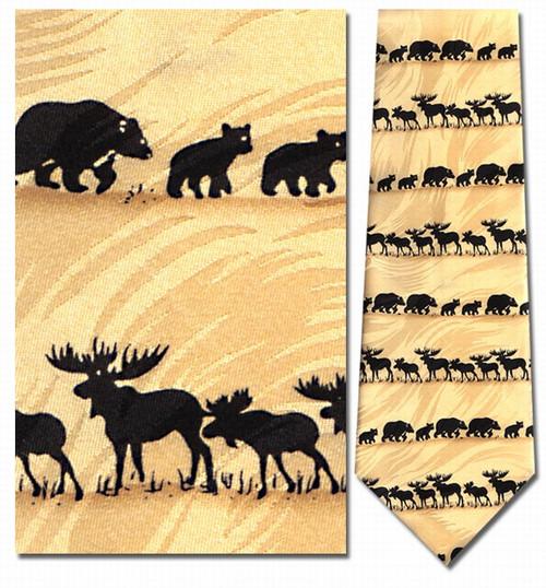 Bear & Moose Silhouette Horizontal Necktie - Museum Store Company Photo