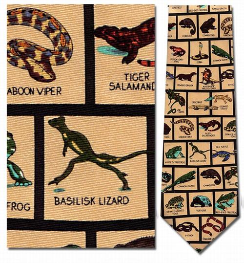 Reptiles In Squares Necktie - Museum Store Company Photo